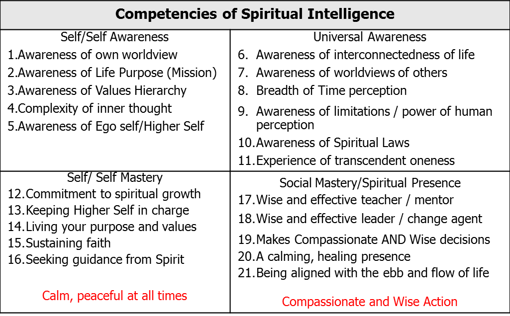 SQ 21 Spiritual Intelligence SQ21 spiritual intelligence - Dr ...